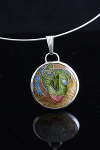 Mr Lizardo, Cloisonné Enamel Pendant, circle pendant with dangle bail