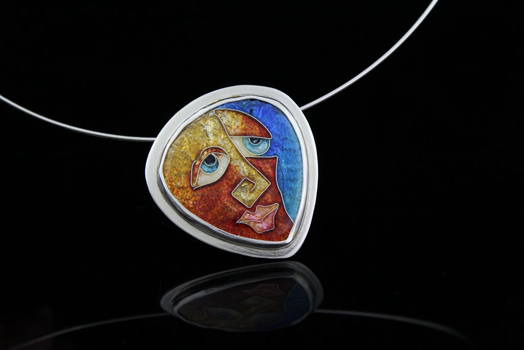 Mr Square Nose, Cloisonné Enamel Pendant