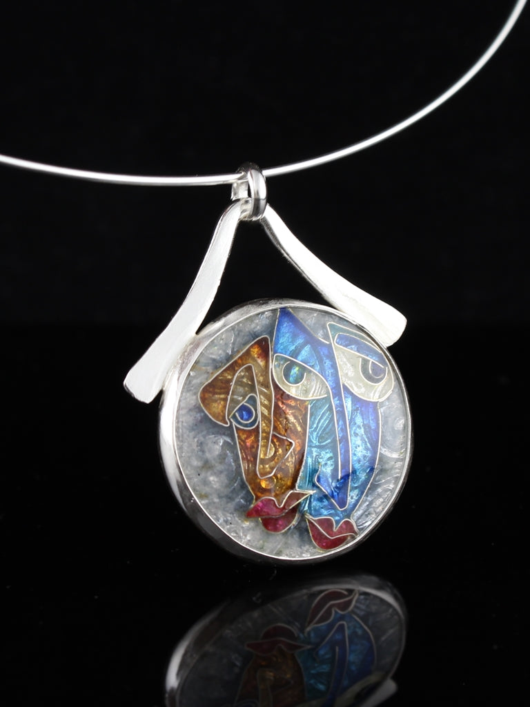My Lobster Cloisonné Enamel Pendant, circle with dangle bail