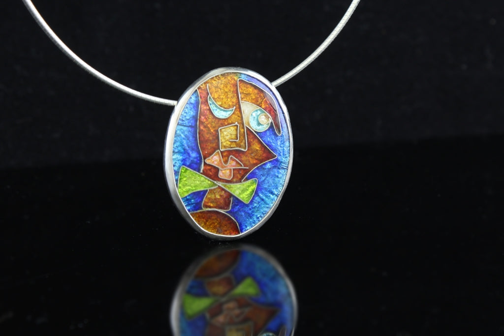 Young Mr Square Nose, Cloisonné Enamel Pendant