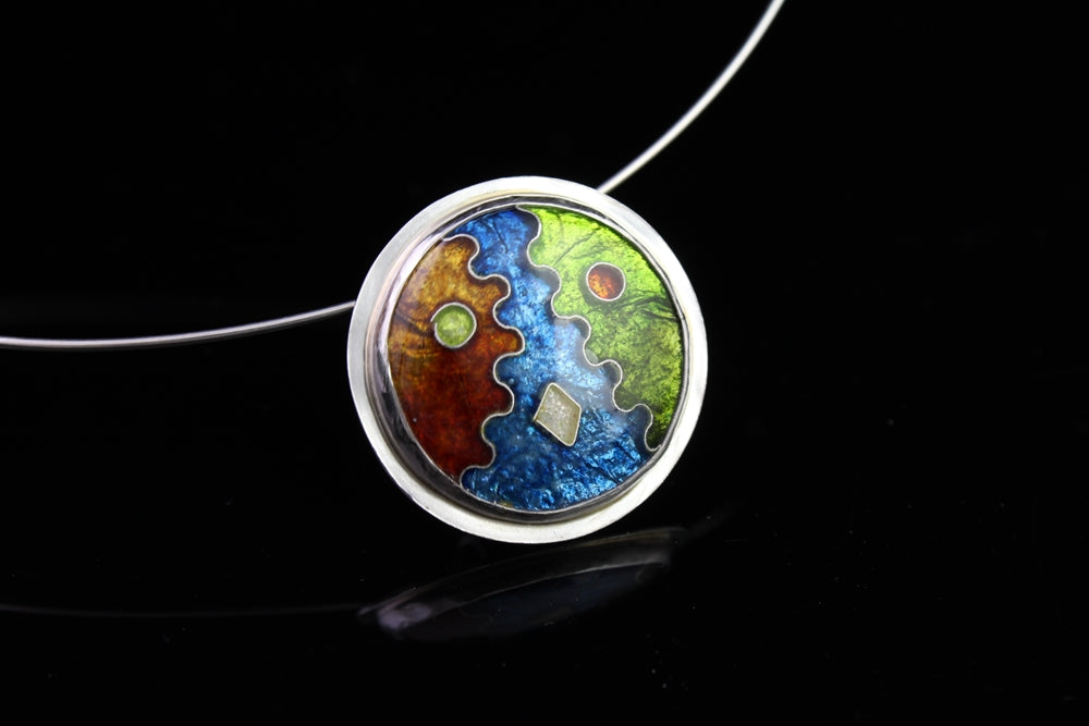 Abstract Circle Cloisonné Enamel Pendant