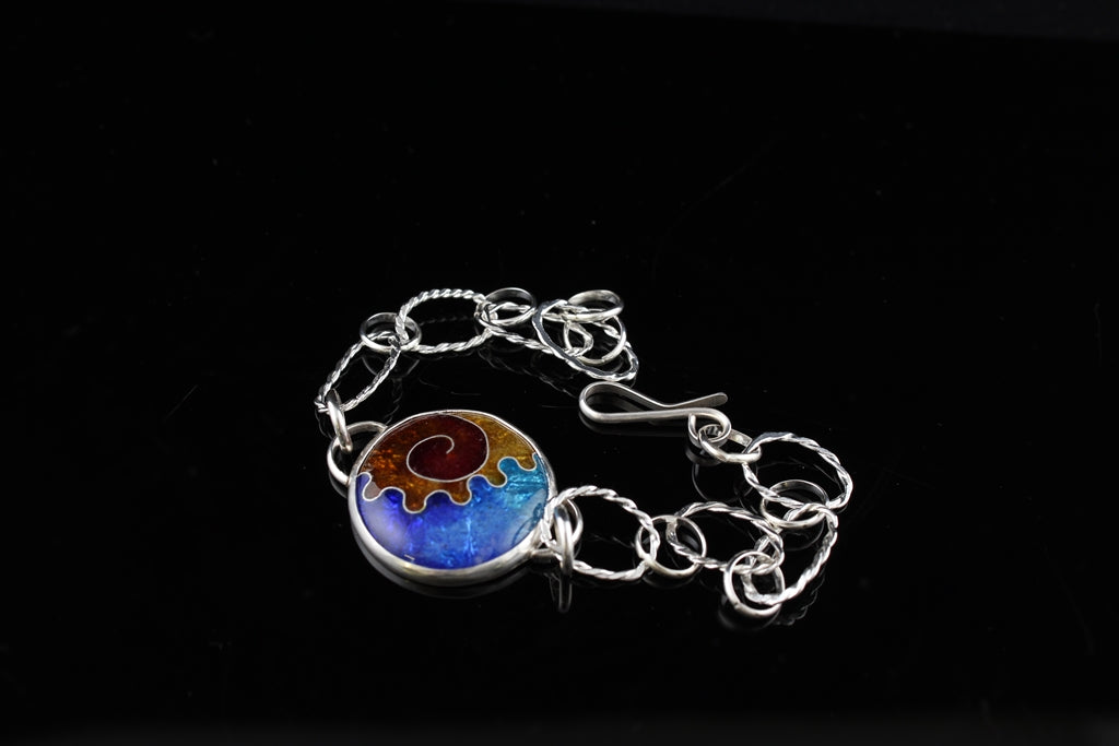 Abstract Cloisonné Enamel Bracelet with a hook clasp, 8 inches