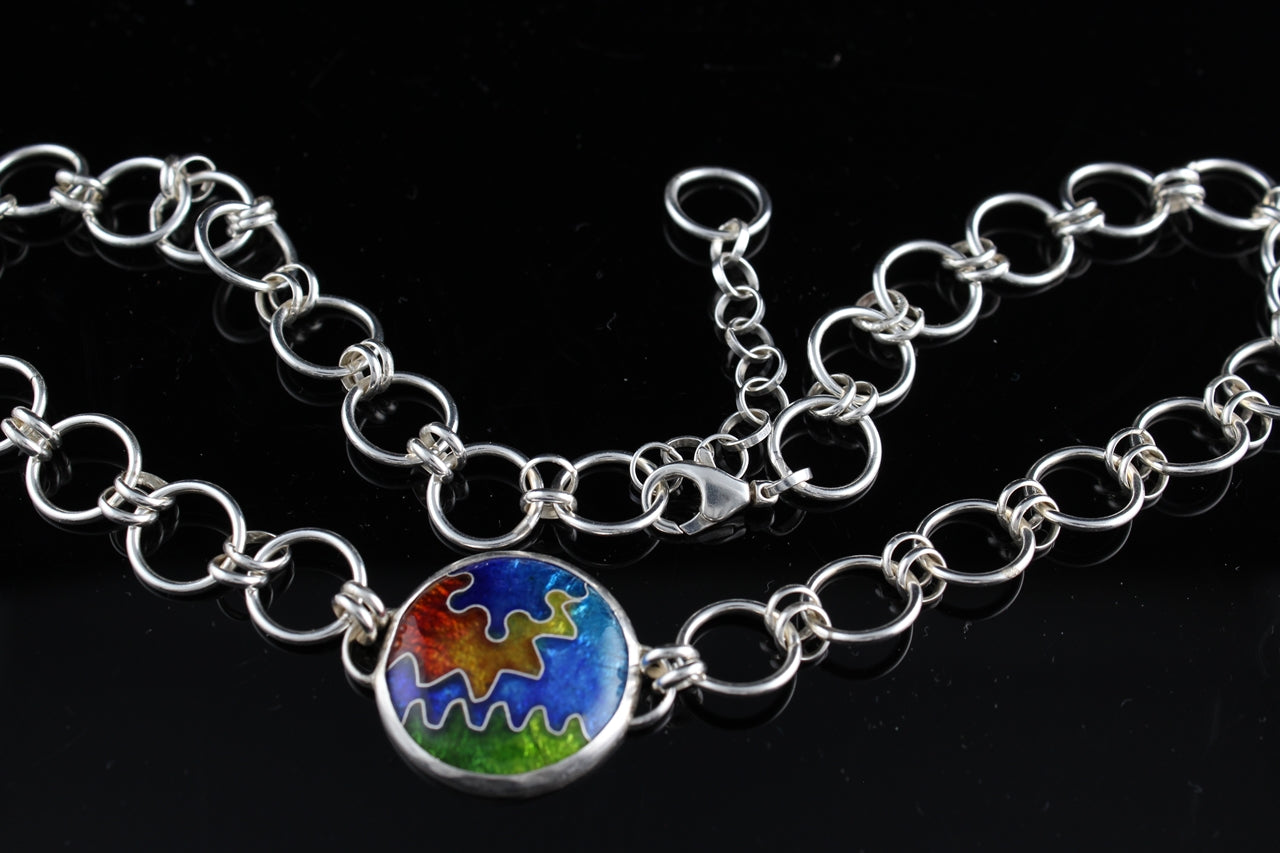 Abstract Circle Cloisonné Enamel Necklace