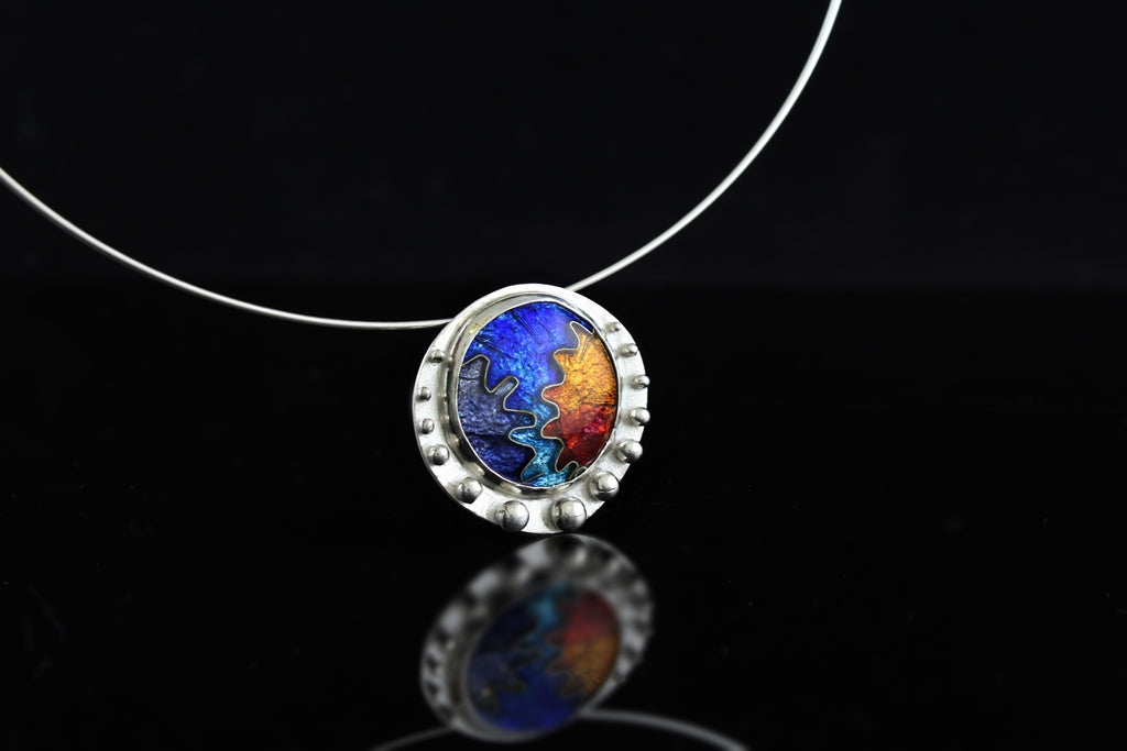 Abstract Circle Cloisonné Enamel Pendant with Granulation