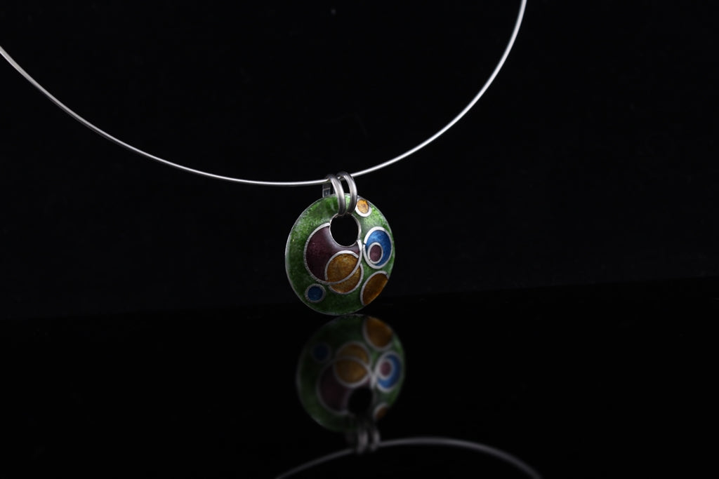 Abstract Circle Cloisonné Enamel Dangle Pendant