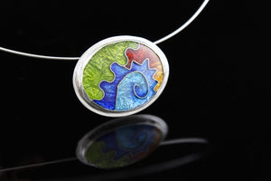 Abstract Oval Cloisonné Enamel Pendant
