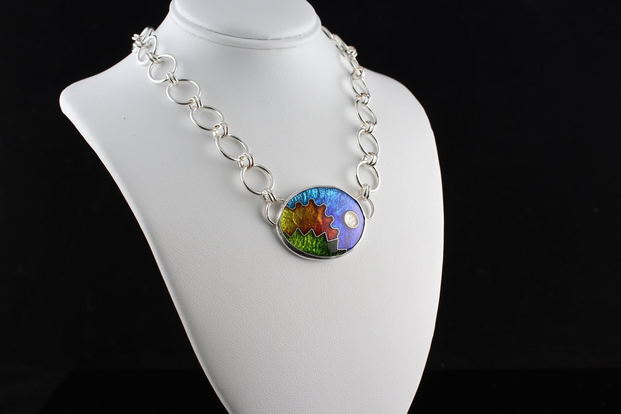 Abstract Oval Cloisonné Enamel Necklace