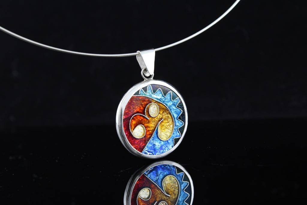 Abstract Circle Dangle, Cloisonné Enamel Pendant