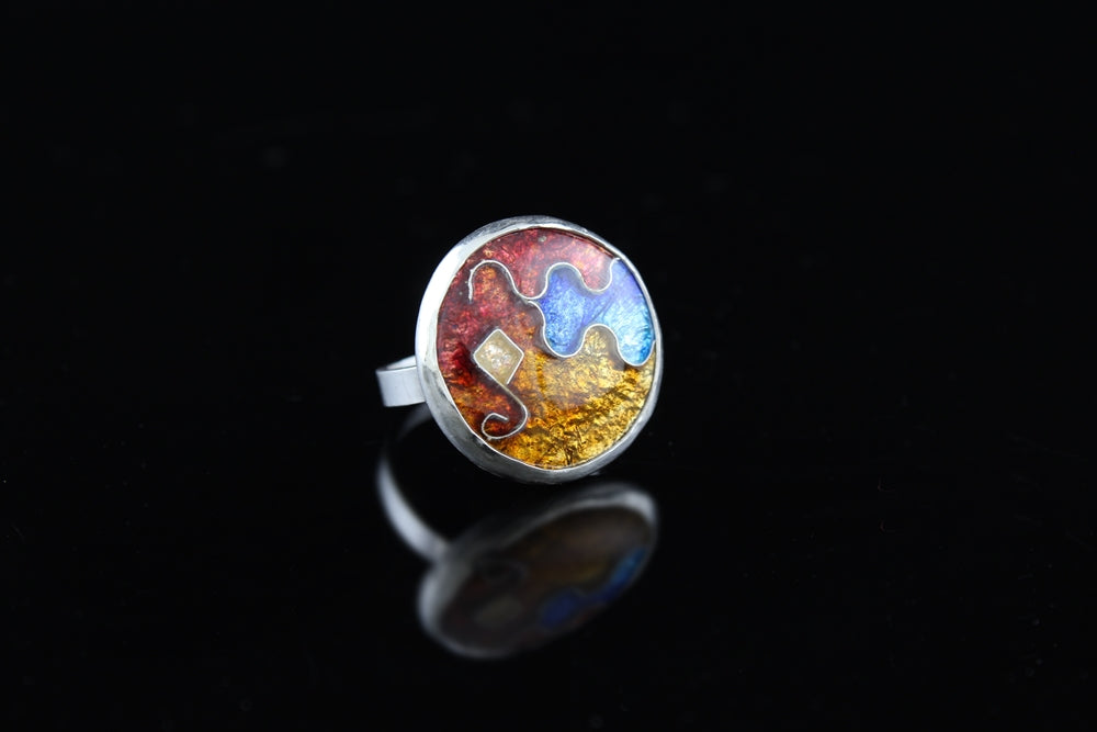 Abstract Circle Ring, Cloisonné Enamel Ring, Size 7