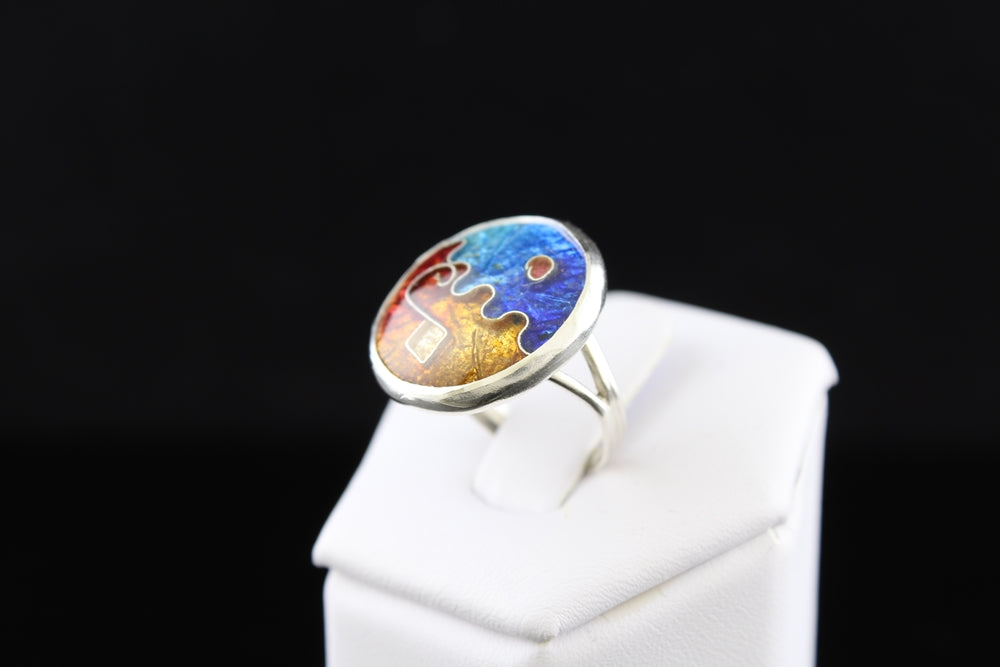 Abstract Circle Ring, Cloisonné Enamel Ring, Size 4