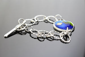 Abstract, Toggle Clasp, Cloisonné Enamel Bracelet 7.75 Inches