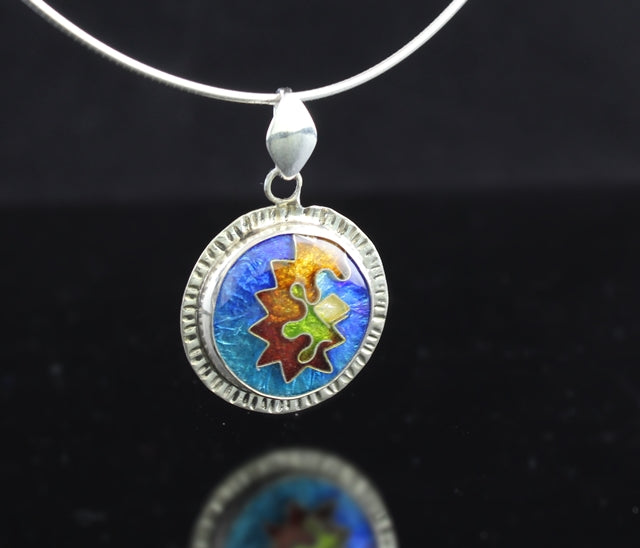 Abstract Circle Cloisonné Enamel Pendant with Dangle