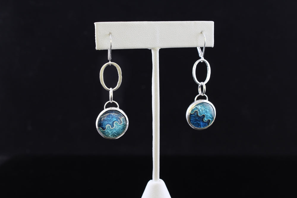 Abstract Dangle, Cloisonné Enamel Earrings