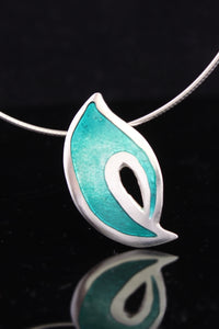 Flame in Green Champleve Enamel Pendant