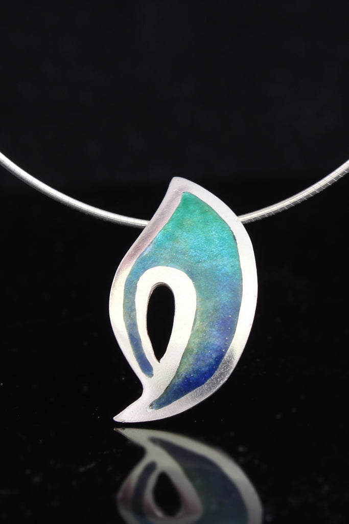 Flame in Blue Green Champleve Enamel Pendant