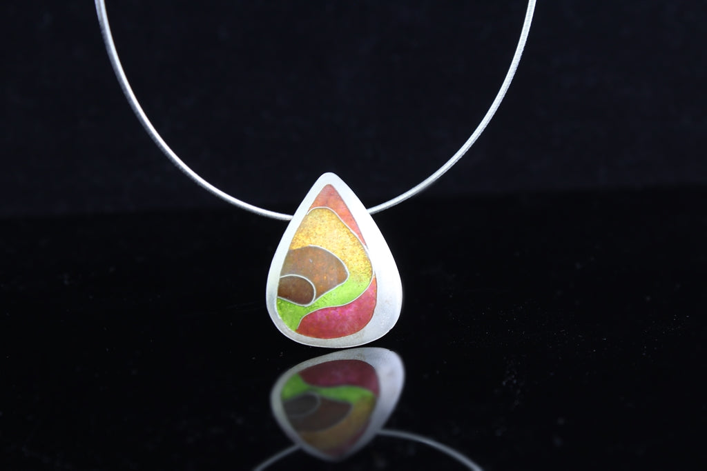 Abstract Teardrop Champleve Enamel Pendant