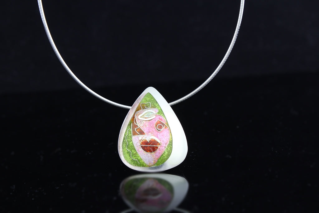Abstract Face Teardrop Champleve Enamel Pendant