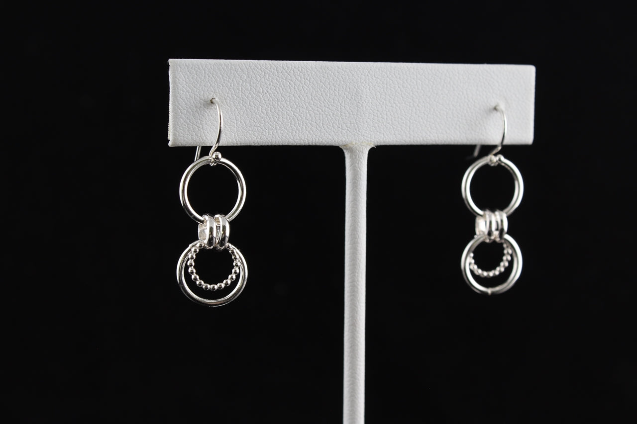 Circle Dangle Fine Silver Earrings