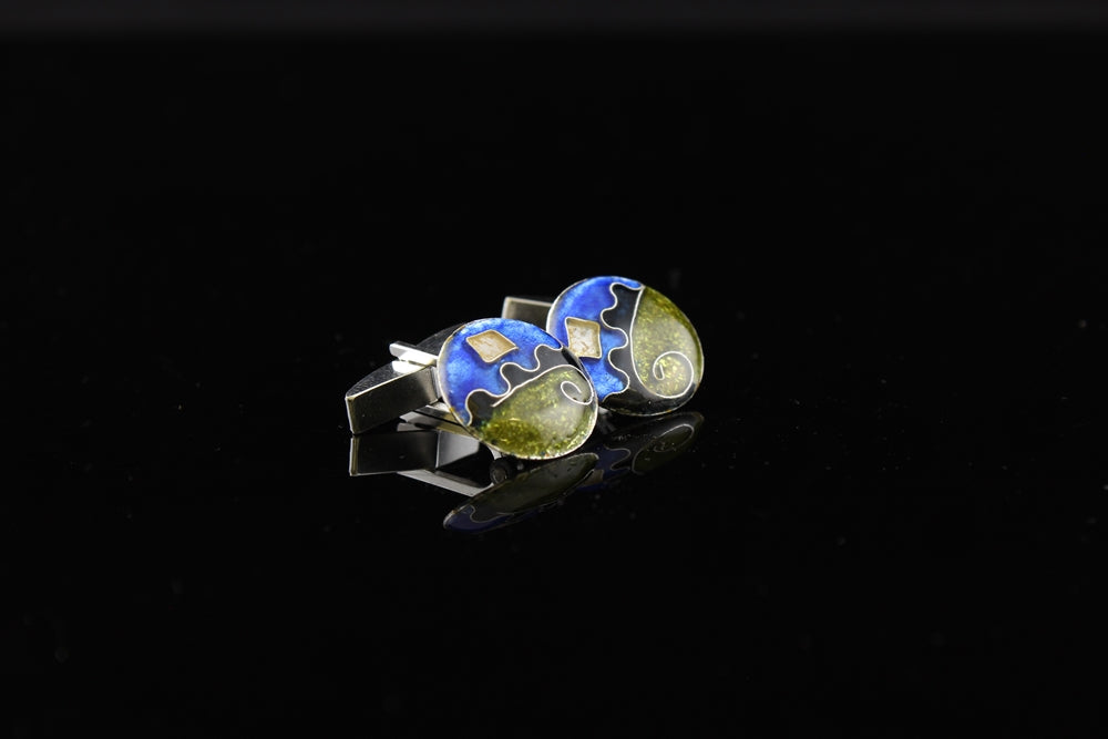 Abstract Cloisonne Enamel Cufflinks
