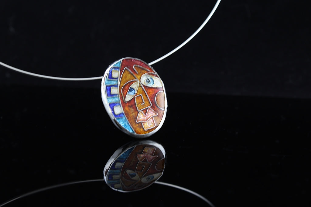 Face of the Jester, Cloisonné Enamel Pendant