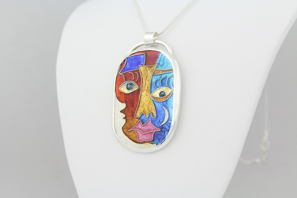 Kissed by the Moon, Cloisonné Enamel Pendant