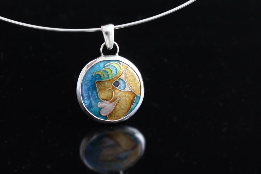 "One of the Guys, Cloisonné Enamel Pendant, .75"" Circle"