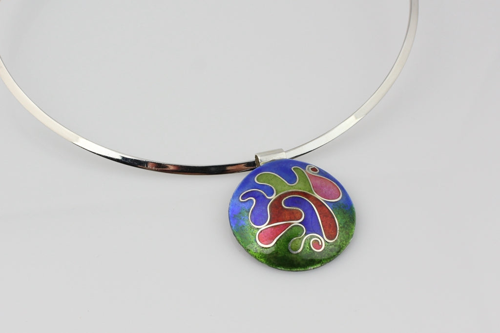 Puddles of Color, Cloisonné Enamel Pendant