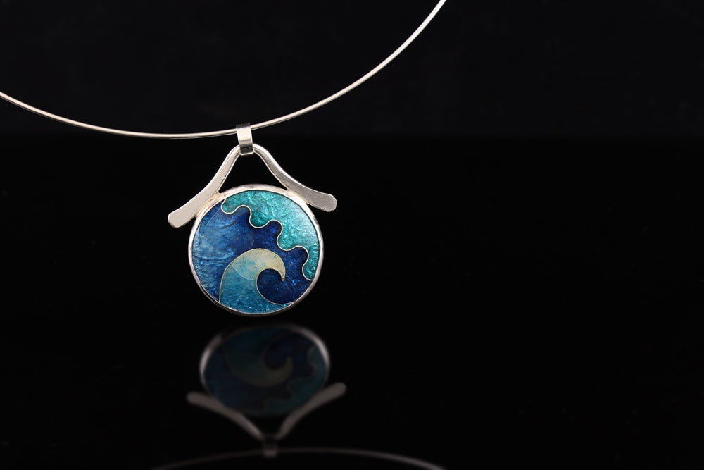 Abstract Sea in sCircle Cloisonné Enamel Pendant