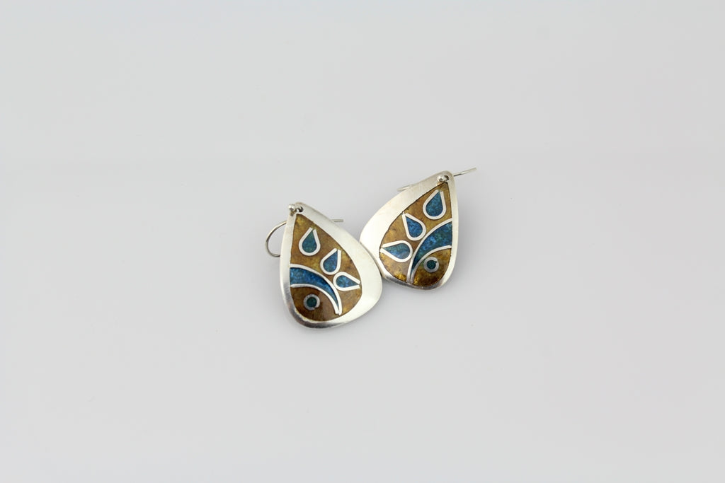 Caramel & Turq, Champlevé & Cloisonné Enamel Earrings