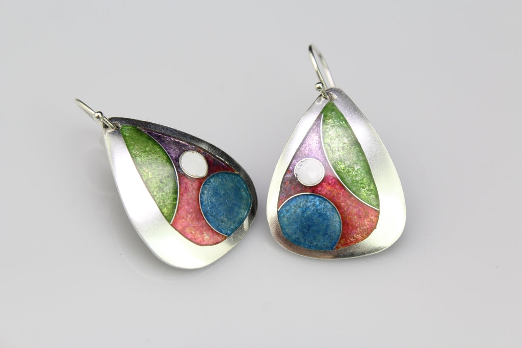 Teardrop Circles, Champlevé & Cloisonné Enamel Earrings
