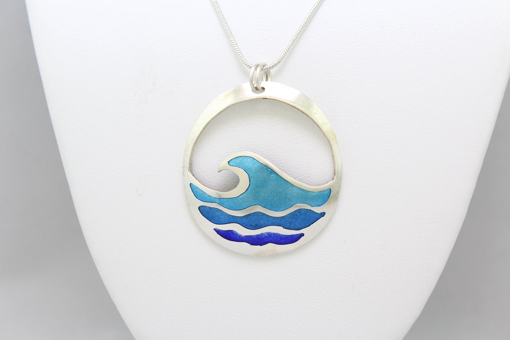 Waves of Blue, Champlevé Enamel Pendant