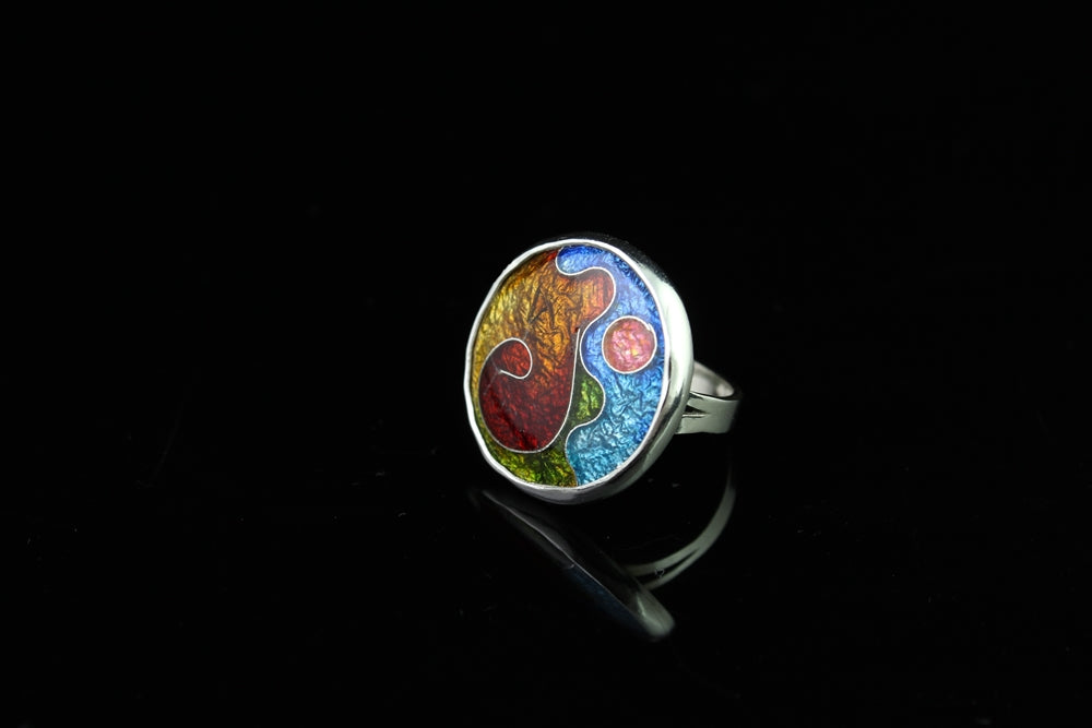 Abstract Circle Ring, Cloisonné Enamel Ring, Size 5.5