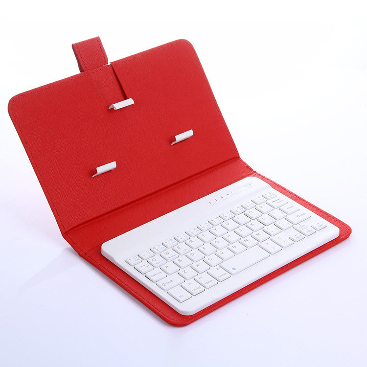 Wireless Bluetooth Keyboard With Leather Holster Mobile Phone Case