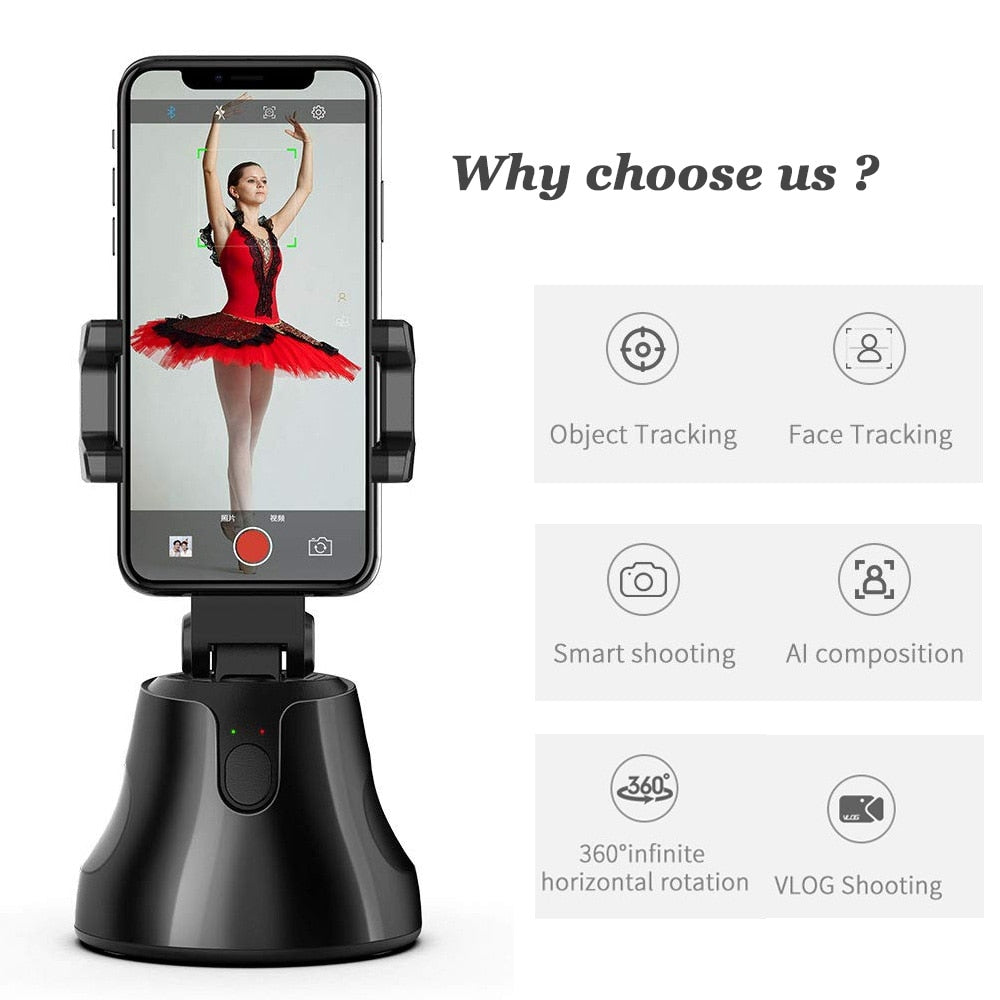 Auto Tracking Selfie Stand with Tripod, 360° Smart Shooting Phone Holder, Intelligent Auto Face Tracking