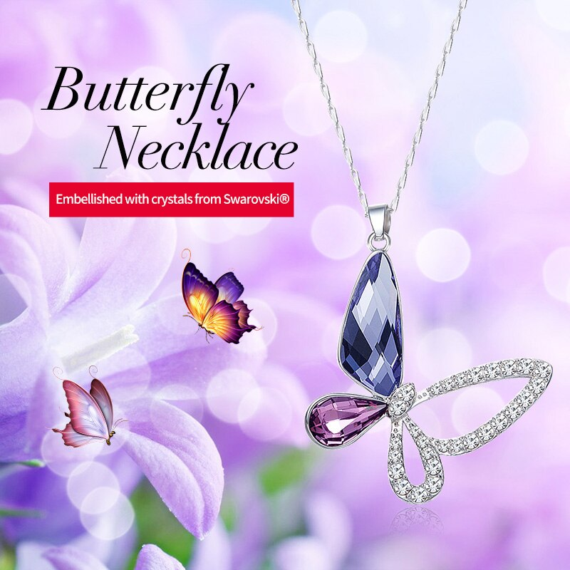 Butterfly Pendant Necklace 925 Sterling Silver Embellished with Crystals from Swarovski