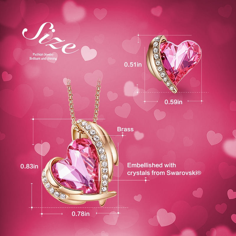 Pink Heart Necklace Earrings Set Gold Embellished with Crystals from Swarovski