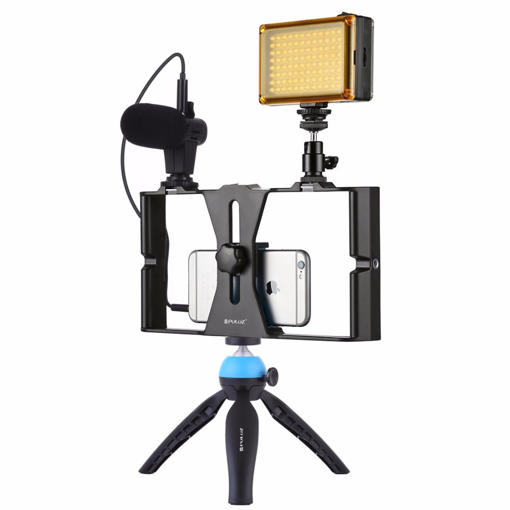 Smartphone Video Rig Filmmaking Recording Handle Stabilizer Bracket for iPhone, Galaxy, Xiaomi, LG and Other Smartphones bracket