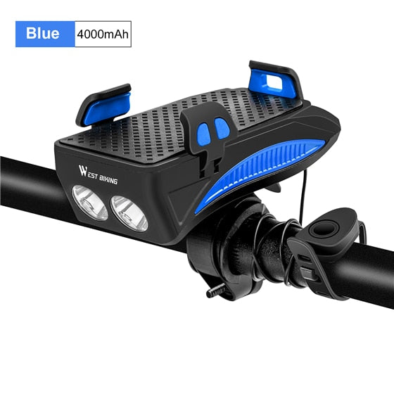 Multifunction 4 IN 1 Bike Light  400 Lumens Bike Flashlight Bike Horn Bike Phone Holder Power Bank Bicycle Front Light