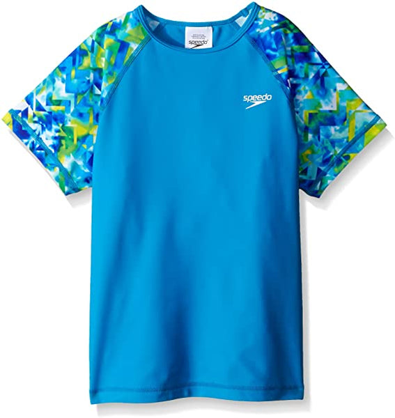 Speedo Girl's UV Swim Shirt Short Sleeve Printed Rashguard