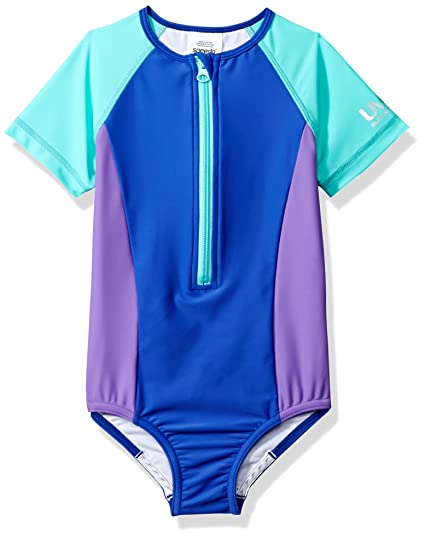 Speedo Girls Zip Up One Piece Swimsuit