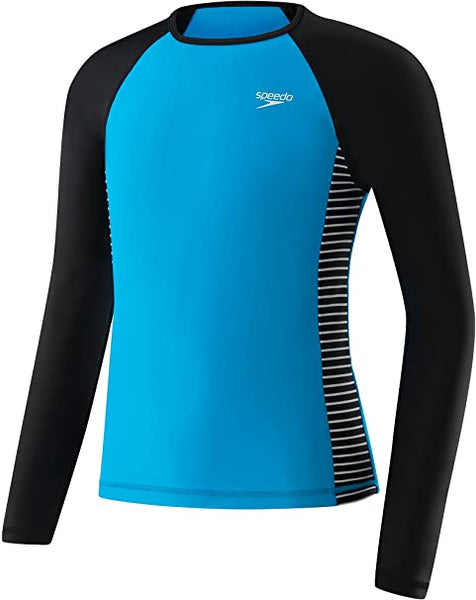 Speedo Big Girls' UV50+ Raglan Long Sleeve Rash Guard Shirt