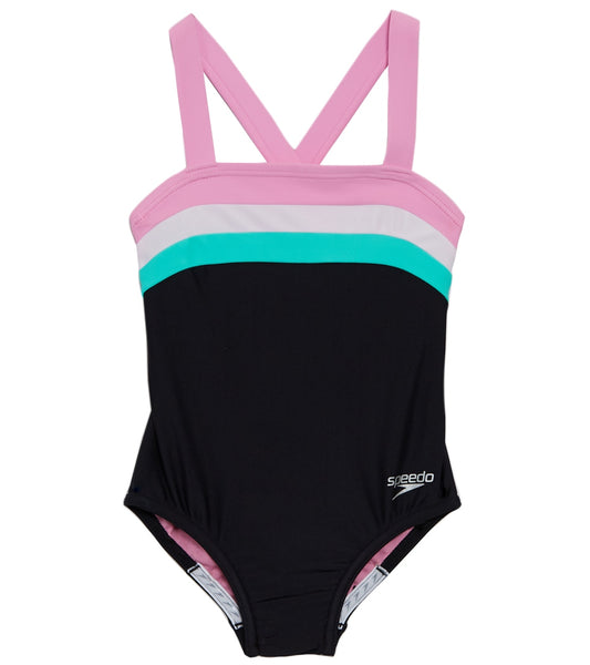 Speedo Girls' Color Blocked One Piece Swimsuit