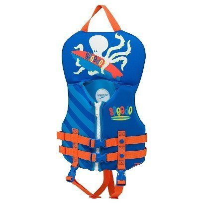 Speedo Infant Neoprene Personal Flotation Device Life Jacket Blue Orange Octopus