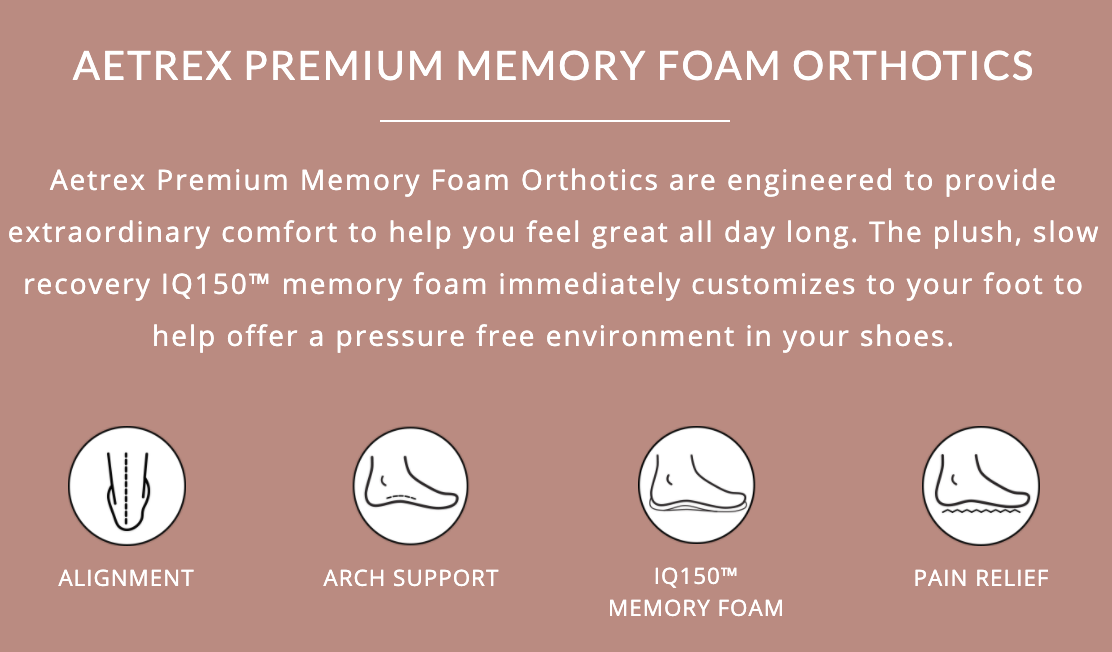 AETREX PREMIUM MEMORY FOAM ORTHOTICS Aetrex Premium Memory Foam Orthotics are engineered to provide extraordinary comfort to help you feel great all day long. The plush, slow recovery IQ150™ memory foam immediately customizes to your foot to help offer a pressure free environment in your shoes.