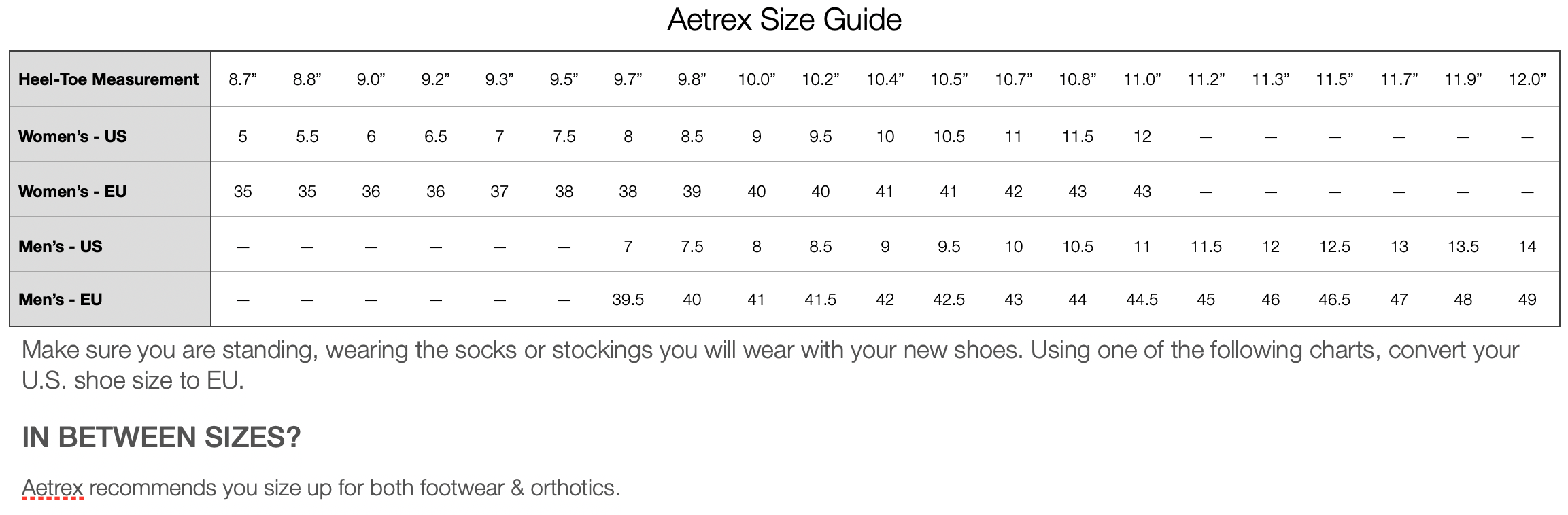 Aetrex Shoe Sandal Slipper Orthotic Size Guide Chart