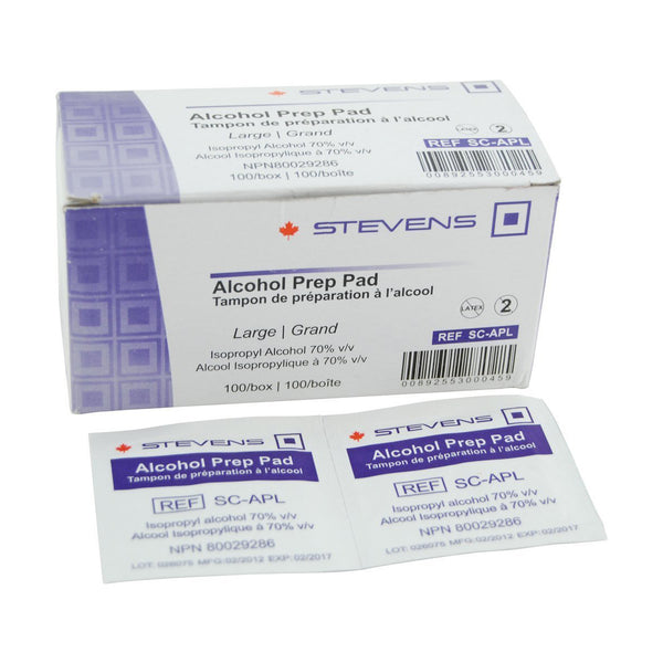 Stevens Alcohol Prep Pads - Large/100 per box - Healthcare Shops