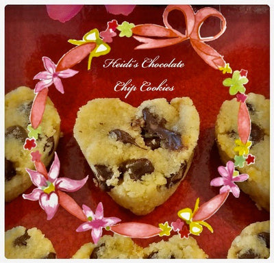 Valentines Day Keto Heart Almond Chocolate Chip Cookies