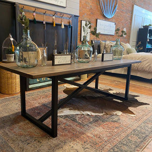 Custom steel base dining table