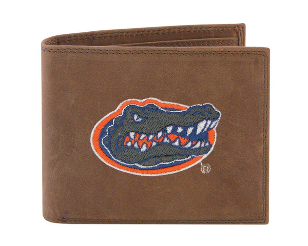 Embroidered Crazy Horse Leather Bi-fold Wallet
