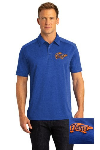 Heather Blue Performance Polo w/ 3-D Silicone Logo